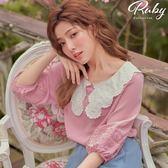 上衣 刺繡花邊娃娃領七分袖上衣-Ruby s 露比午茶