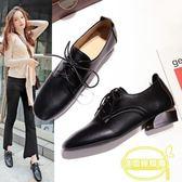 歐美粗跟單鞋女深口中跟系帶小皮鞋女新款春鞋百搭英倫方頭鞋