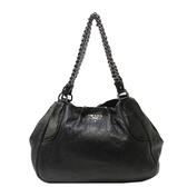 PRADA 普拉達 黑色亮牛皮肩背包 Cervo Lux Chain Shoulder Bag【BRAND OFF】