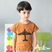 童裝 上衣 飛機剪影側口袋短袖上衣(咖)