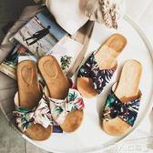 拖鞋新款夏季平底一字拖厚底拖鞋女防滑沙灘鞋蝴蝶結海邊涼拖外穿 【四月特賣】