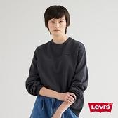 Levis 女款 重磅大學T / 精工刺繡Logo / Oversize寬鬆版型 / 400GSM厚棉 / 魚子黑