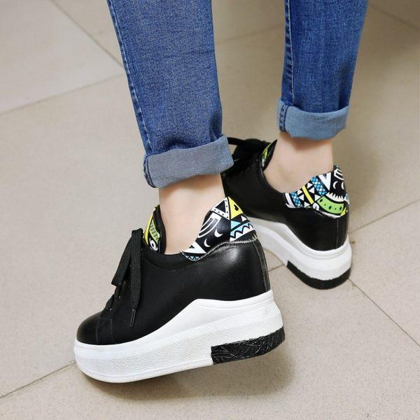 2017春季新款單鞋層牛皮小白鞋休閒松糕鞋厚底鞋女內增高單鞋  -10924912004