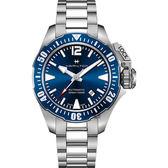 【贈送皮錶帶】Hamilton 漢米爾頓 卡其海軍系列蛙人潛水機械錶-藍x銀/42mm H77705145