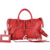 BALENCIAGA Classic City S 小羊皮銀釦機車包(胭脂紅) 1640091-54