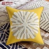 美式現代客廳沙發抱枕枕套床頭腰枕靠墊歐式輕奢黃色臥室床上靠枕MBS「時尚彩虹屋」