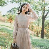 蕾絲洋裝長袖春裝新款女中長款復古網紗仙女裙收腰打底裙子 糖糖日系森女屋