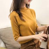 半高領針織衫女春秋裝新款短款毛衣女寬鬆半袖打底衫中袖上衣外穿