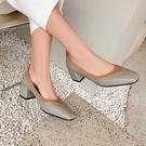 大尺碼女鞋34~43 2021年優雅百搭拼色方頭淺口粗中跟鞋~5色
