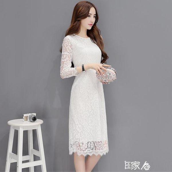 蕾絲連身裙顯瘦冷淡風裙子 洋裝/E家人
