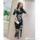 chic民族風印花雪紡洋裝新款女裝夏季韓版拼接蕾絲名媛裙子 雙十二全館免運