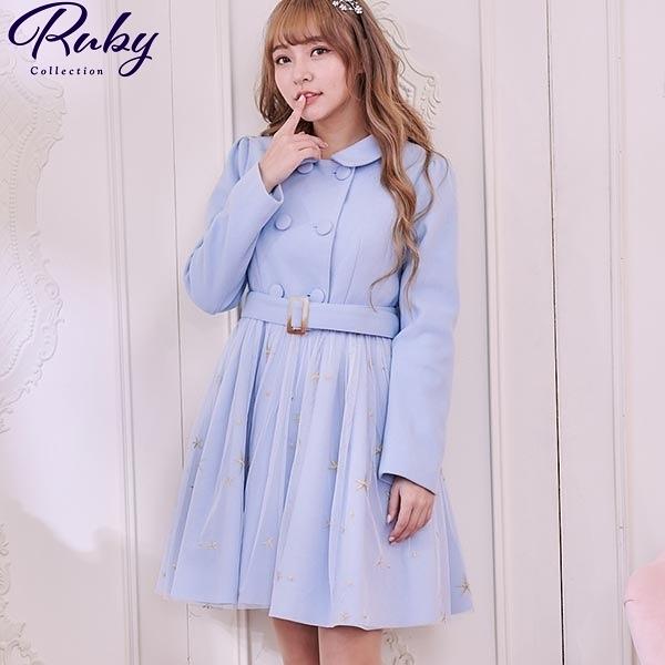 外套 Ruby x AKB48TeamTP設計•網紗拼接毛呢外套-Ruby s 露比午茶