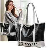 單肩包 2020新款女包拼接字母印花包大容量時尚休閒單肩包簡約百搭手提包 99購物節