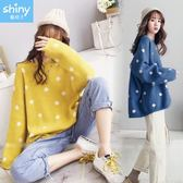 【V2695】shiny藍格子-甜美冬氛.圓點點寬鬆長袖毛衣針織上衣