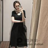 洋裝/早春新款復古氣質黑色沙灘裙子背后交叉小黑裙短袖連身裙長款裙子