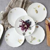 雙十二狂歡 秋實系列8寸骨瓷圓盤牛排盤西餐盤子陶瓷餐具點心盤平盤菜盤 挪威森林