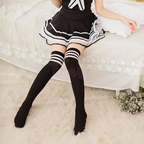 角色扮演 情趣用品 日系原宿海軍風-黑白條紋女學生中筒襪 (女襪-大腿襪)『1111購物季』