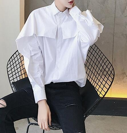 FINDSENSE 品牌 男士襯衫 特殊裁剪前片重疊的蝙蝠袖男士純色襯衫