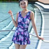 泳裝泳衣女士性感遮肚保守連體裙式小胸新款大碼胖mm泡溫泉款 溫暖享家