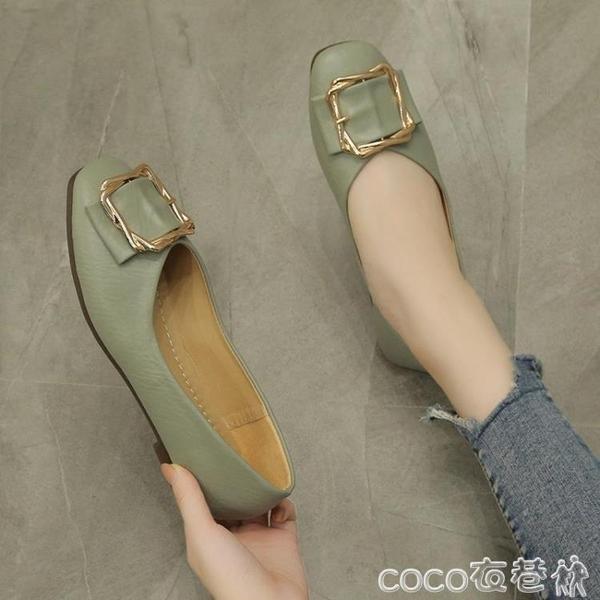 豆豆鞋平底單鞋女瓢鞋2020新款潮鞋子百搭方頭軟底淺口秋款奶奶鞋豆豆鞋  COCO