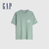 Gap男裝 純棉質感厚磅圓領短袖T恤 705488-綠色