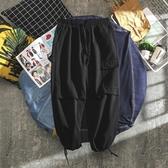 潮牌工裝褲男暗黑風寬鬆直筒闊腿大口袋抽繩束腳休閒九分褲長褲子  免運快速出貨
