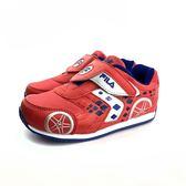 FILA 魔鬼氈 輕量 透氣網面 賽車電燈鞋 運動鞋《7+1童鞋》4203 紅色