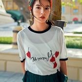 短袖T恤-撞色邊時尚愛心字母刺繡女上衣73qu15【巴黎精品】