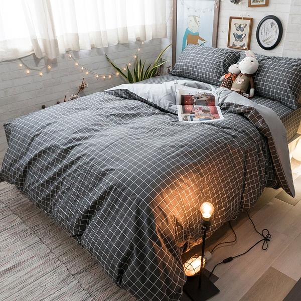 英倫灰 K3 雙人King Size床包與兩用被四件組 100%精梳棉 台灣製