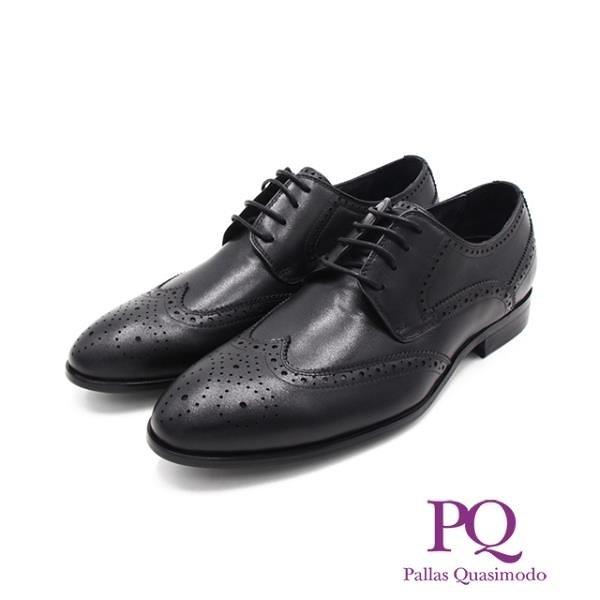 【南紡購物中心】PQ(男)渲染小圓頭造型綁帶皮鞋男鞋-黑(另有咖)