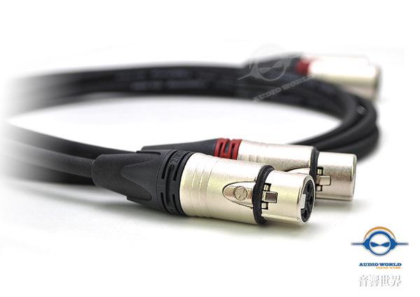 【音響世界】美製 Pro Co 223B線材 +Neutrik XLR鍍銀公/母頭平衡線1.5米一對