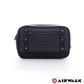 美國 AIRWALK  立方體 都會極簡四方腰包-釘釦黑