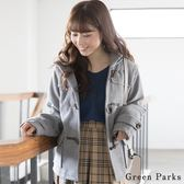 ❖ Hot item ❖ 短版連帽牛角釦大衣外套 - Green Parks