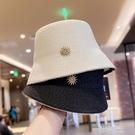 帽子女夏天韓版高冷網紅優雅鑲鑚水桶帽日系遮臉漁夫防曬遮陽草帽 一米陽光