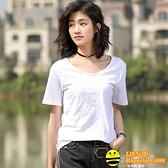 純棉短袖女新款夏季竹節棉寬鬆寬版半袖大碼純色大圓領白色t恤女【happybee】