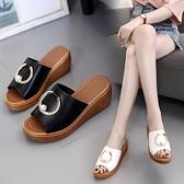 高跟鞋 夏季新款厚底高跟坡跟韓版女拖鞋外穿一字拖沙灘鞋女鞋女涼拖 星河光年