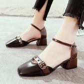 皮帶扣粗跟包頭涼鞋女春夏季女鞋中跟單鞋子【熊貓本】