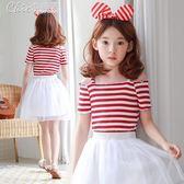 女童露肩上衣韓版大童一字領彈力條紋T恤百搭修身短袖衫「Chic七色堇」
