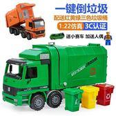 兒童玩具 仿真慣性耐摔環保桶垃圾車大號環衛工程模型保潔清潔男孩兒童玩具·夏茉生活YTL