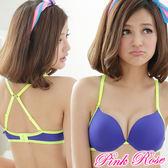 內衣 運動女孩雙變美背★加厚爆乳A-C罩杯(藍) 粉紅薔薇