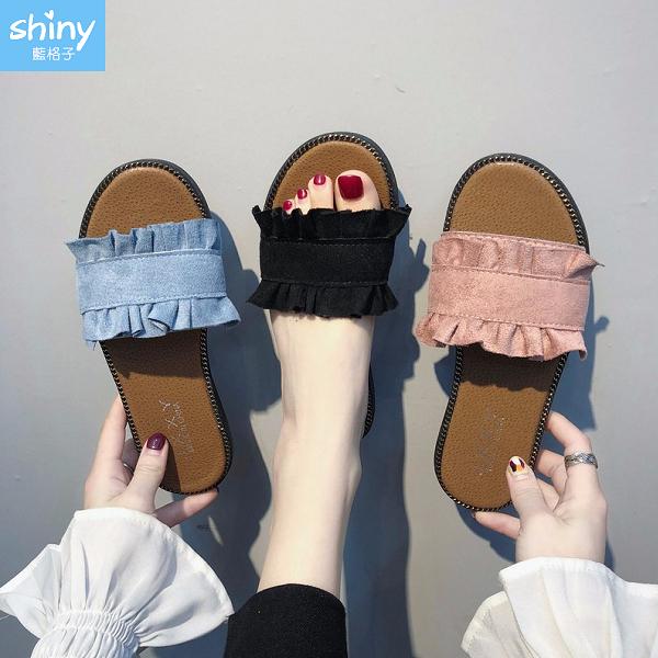 【V8984】shiny藍格子-潮流春夏.時尚花邊外穿百搭防滑平底拖鞋