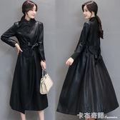秋冬新款韓版海寧皮衣女長款過膝綿羊皮風衣修身顯瘦皮外套潮