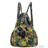 皮圖騰中老年抽繩雙肩包媽媽輕便印花布束口買菜跳舞大媽背包旅行  港仔會社