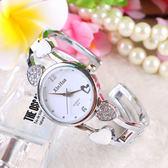 85折愛心鑲水鑚開口式手鐲表防水鋼帶石英手表開學季