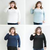 雙十二狂歡 胖妹妹秋裝打底衫200斤2018新款大碼女裝胖MMV領純棉長袖T恤08935 挪威森林
