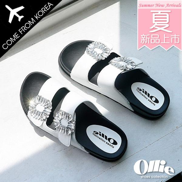 韓國 Ollie 韓國空運 版型正常 閃耀方鑽 顯瘦雙寬帶 舒壓乳膠厚底涼拖鞋【F720668】2色 SD韓美鞋