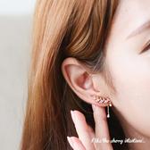 微鑲葉子鋯石造型不對稱耳環【櫻桃飾品】【20355】