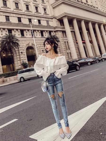 2018秋季新款女裝韓版荷葉邊吊帶長袖雪紡衫 破洞小腳牛仔褲套裝