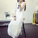 洋裝 2020夏季文藝棉麻無袖吊帶裙子白色長款雙層打底洋裝女背心長裙-Ballet朵朵