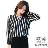 EASON SHOP GU5576 韓國風顯瘦V 領一粒扣豎條紋長袖襯衫雪紡衫女上衣服大碼
